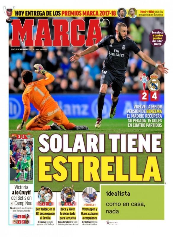セルタ戦翌日MARCA:Solari tiene estrella (ソラーリにはスター選手がいる)