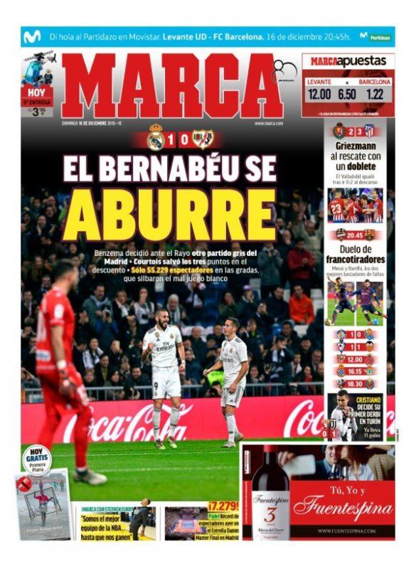 ラージョ戦翌日MARCA:El Bernabéu se aburre (退屈なベルナベウ)