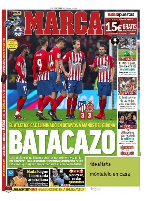 レガネス戦翌日紙面MARCA:El Madrid pasa pero da otra vez mala imagen(マドリードは突破したが再び悪いイメージを与えた)