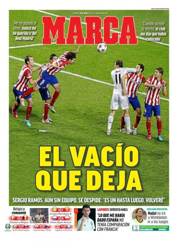 6/18 MARCA紙一面:EL VACÍO QUE DEJA (残していったスペース)