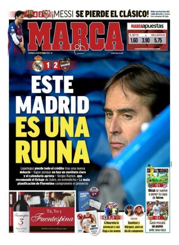 レバンテ戦翌日MARCA:Este Madrid es una ruina(このマドリードは破滅している)